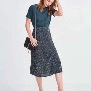 Dot print wrap midi skirt size s brand new